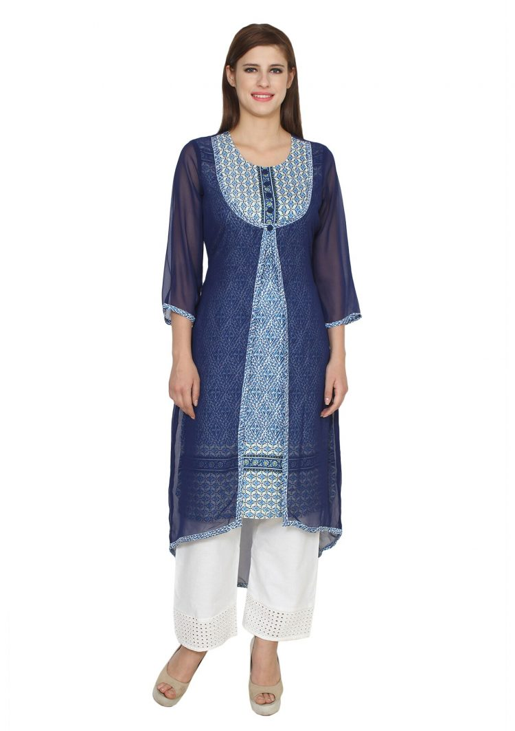 Mirabella Blue High-Low Printed A-Line Kurta