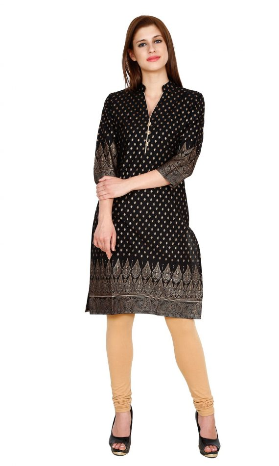 Mirabella Black & Golden Printed Kurti