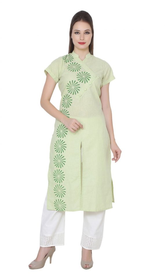 Mirabella Green Block-Print Cotton Kurta