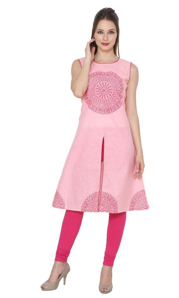 Mirabella Pink Chakra Block-Print Cotton Kurta
