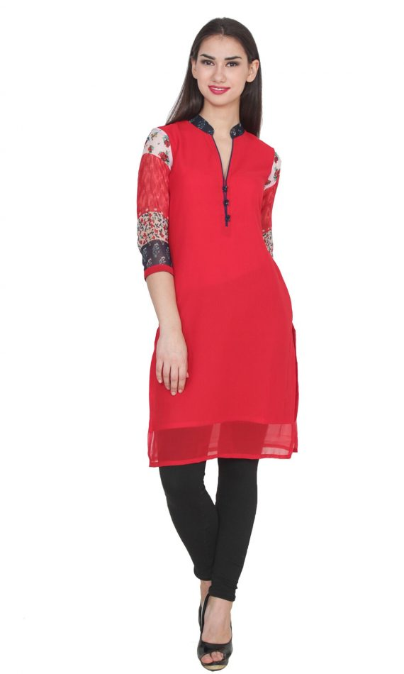 Mirabella Red Printed Straight Kurta