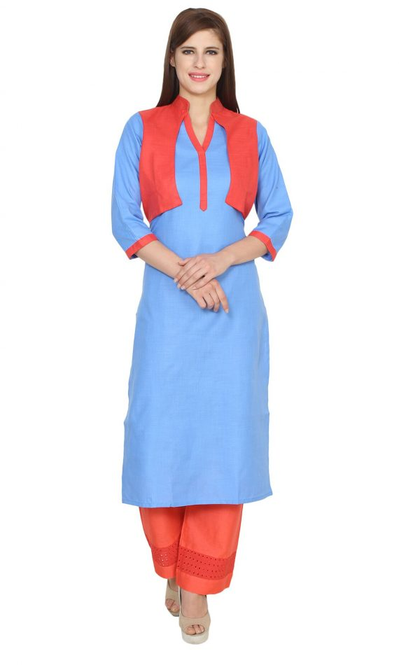 Mirabella Red & Blue Jacket Kurta