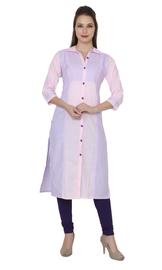 Mirabella Pink-Lavender Front Button Color-Block Kurta