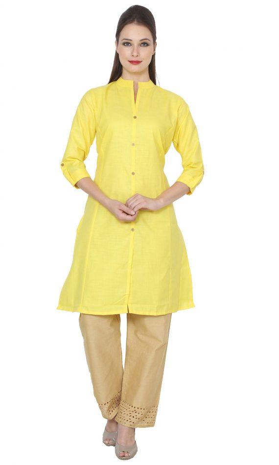 Mirabella Yellow Khadi A-Line Kurta