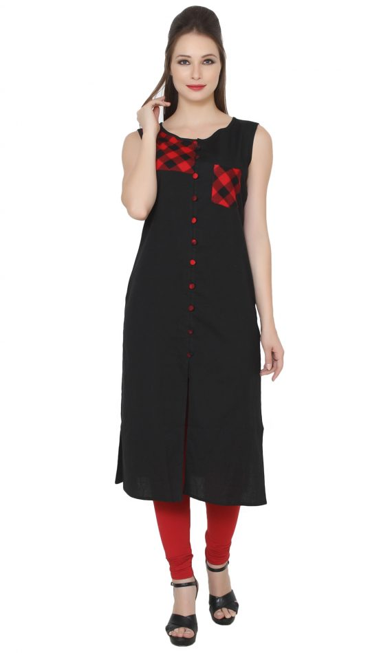 Mirabella Red & Black Check Fusion Kurta