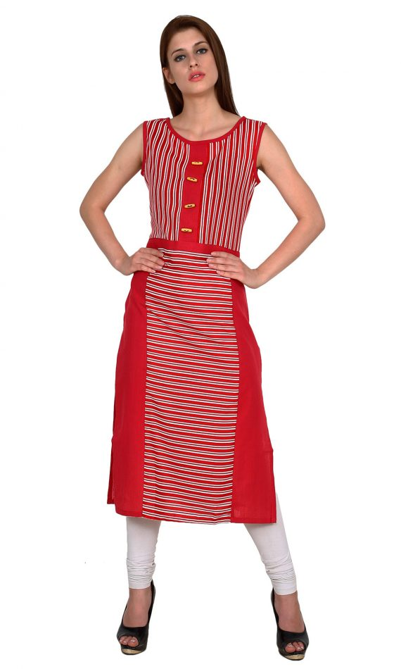 Mirabella Red Sleeveless Pinstripe Kurta