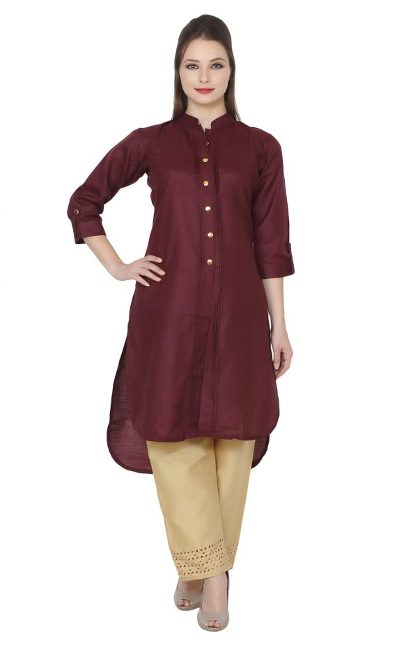 Mirabella Maroon Khadi High-Low kurta