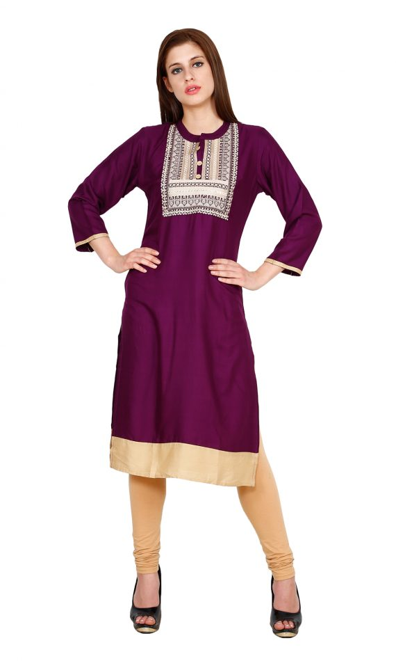 Mirabella Purple Embroidered Straight Kurta