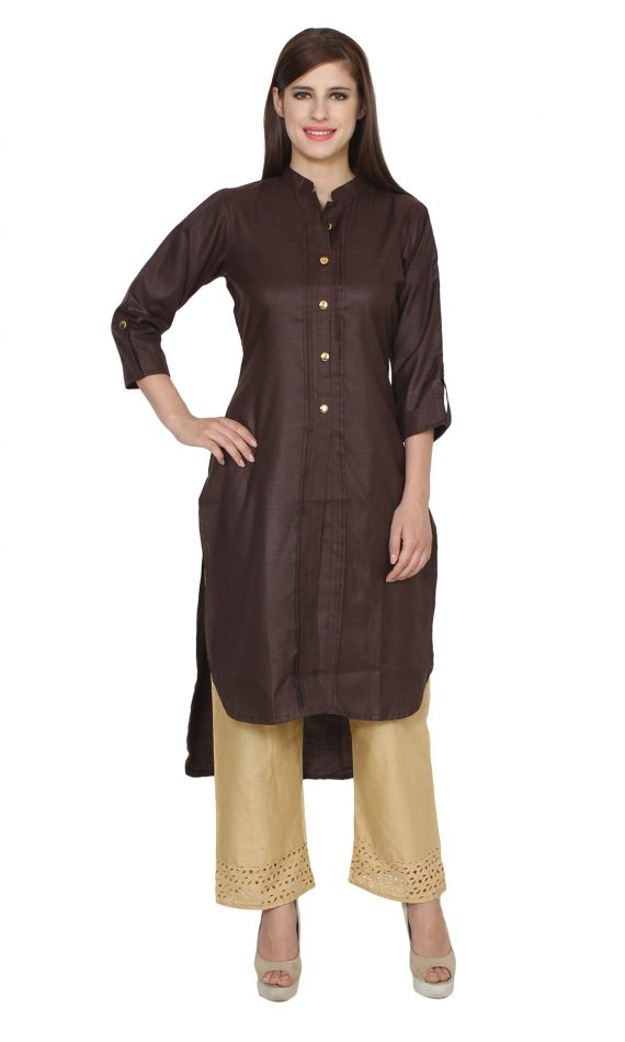 Mirabella Dark Brown Khadi High-Low Kurta