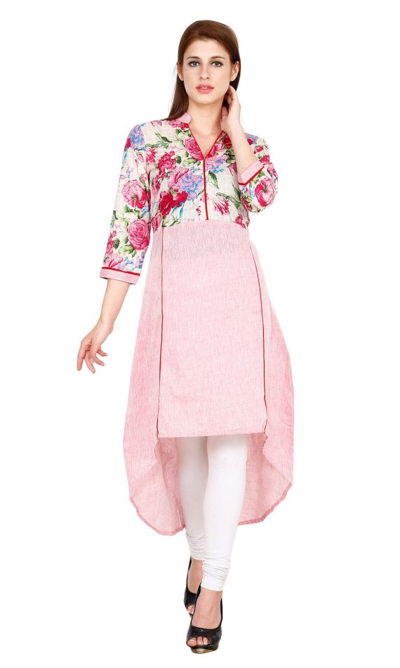 Mirabella Pink Printed Cotton High-Low Kurta