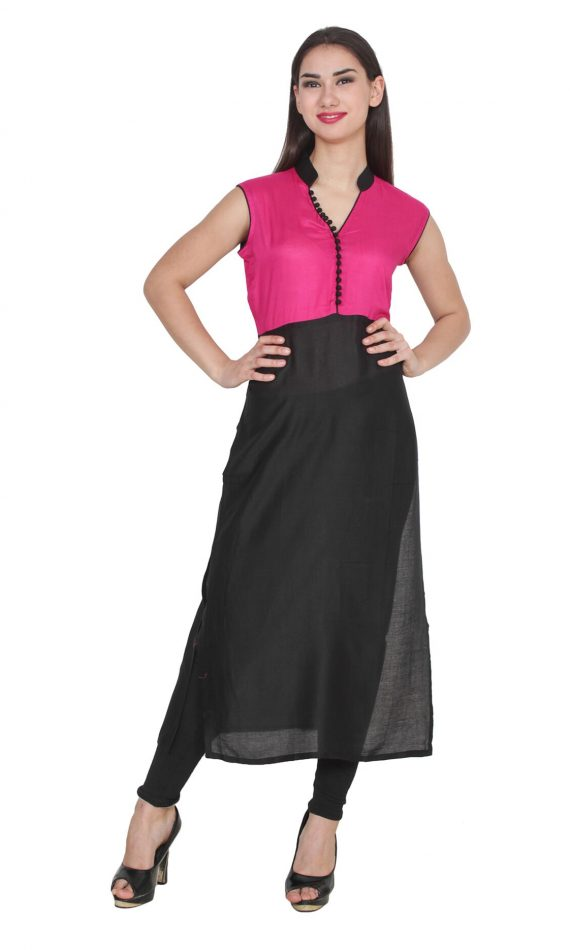 Mirabella Pink & Black Sleeveless Kurta