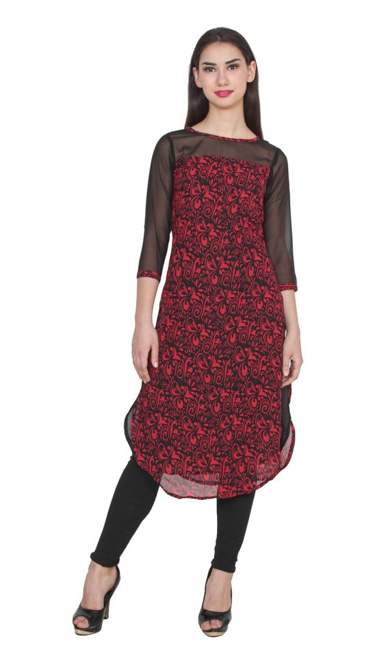 Mirabella Red Printed Georgette & Net Kurti