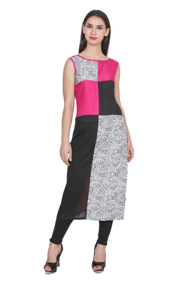 Mirabella Fusion Pink & Black Color-Block Kurti