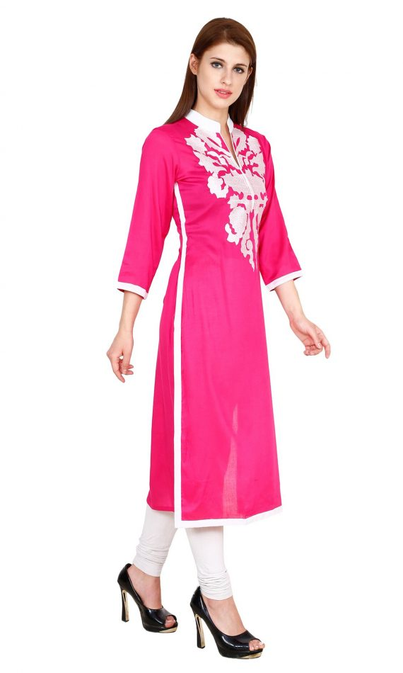 Mirabella Pink Embroidered Straight Kurta