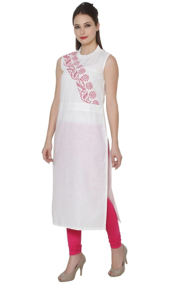 Mirabella Cream Floral Block-Print Cotton Kurta