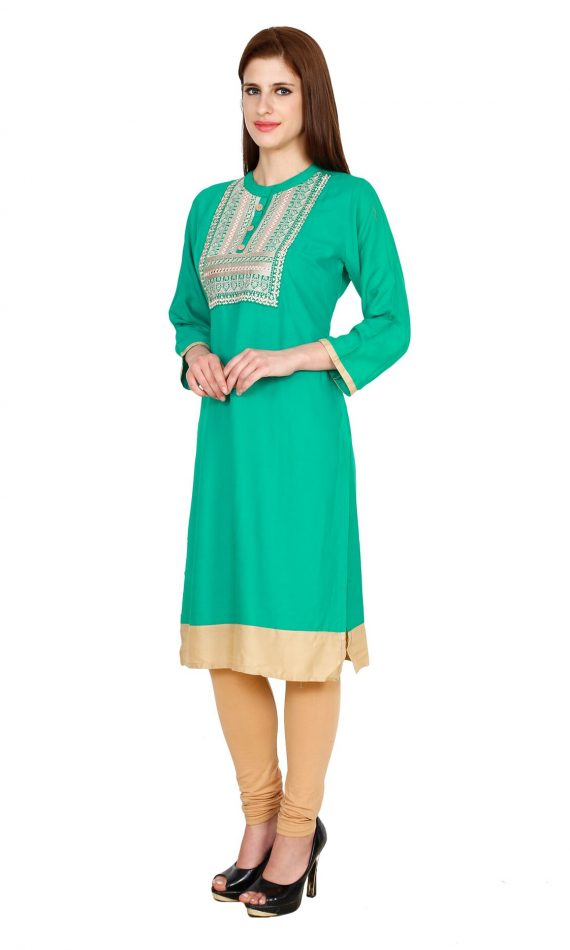 Mirabella Green Embroidered Straight Kurta