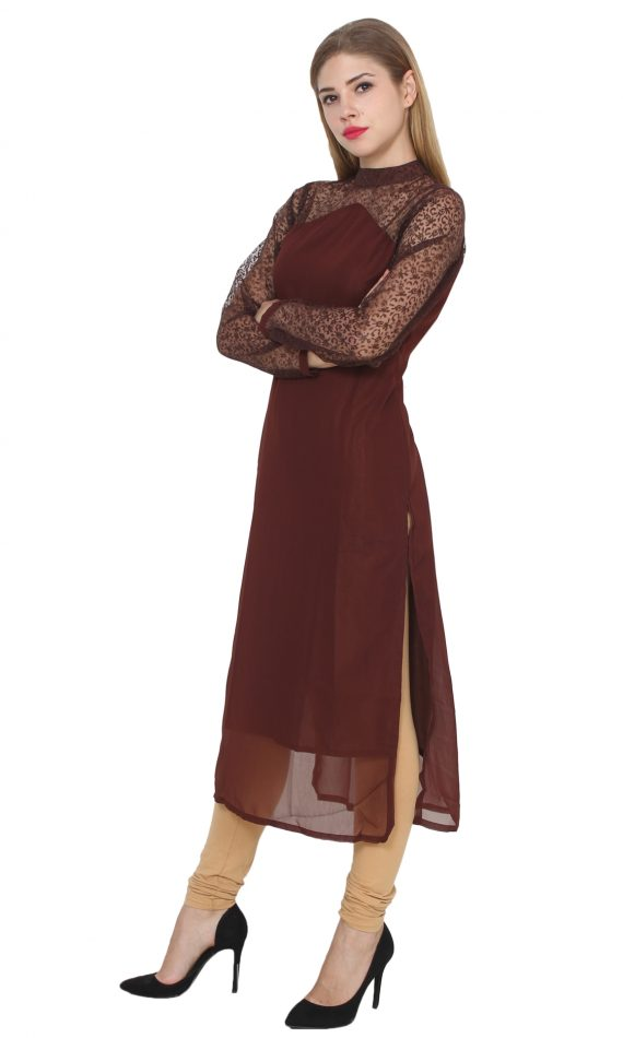 Mirabella Brown Crepe & Net Evening Wear Kurta