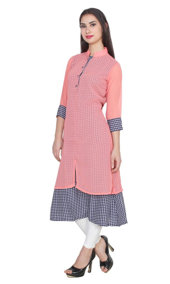 Mirabella Peach Layered Solid & Printed Kurta