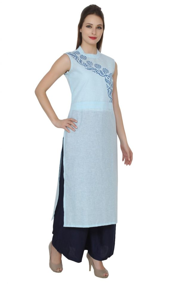Mirabella Blue Floral Block-Print Cotton Kurta