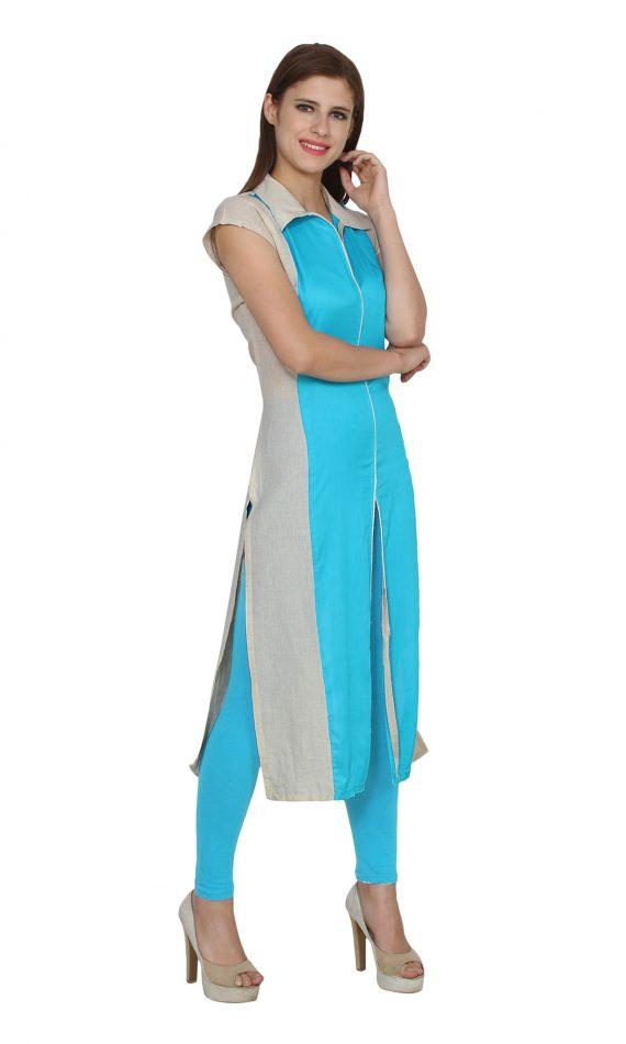 Mirabella Blue & White Front Slit Kurta