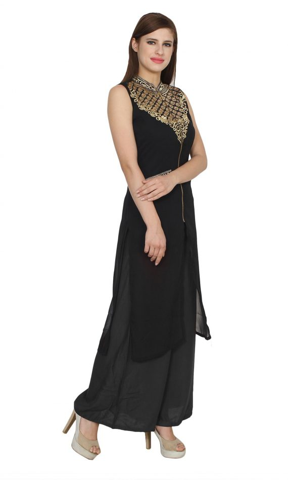 Mirabella Black Embroidered Festive Kurti