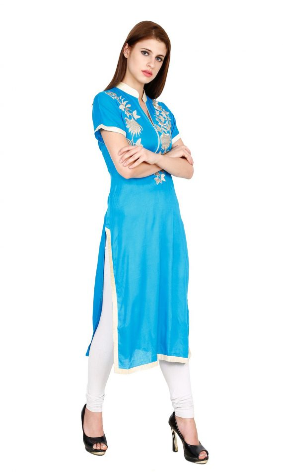 Mirabella Blue Embroidered Straight Kurta