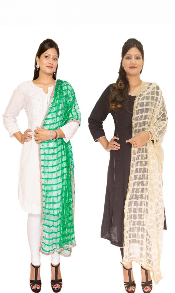 Combo 1 – Off-white & Green Dupatta