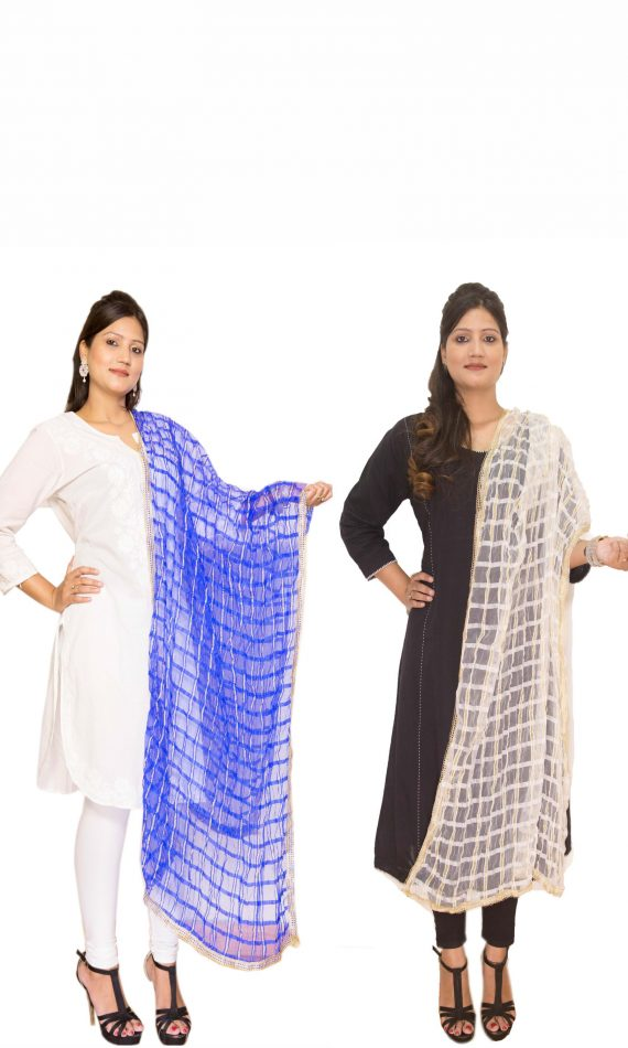 Navy Blue & White Dupatta Combo