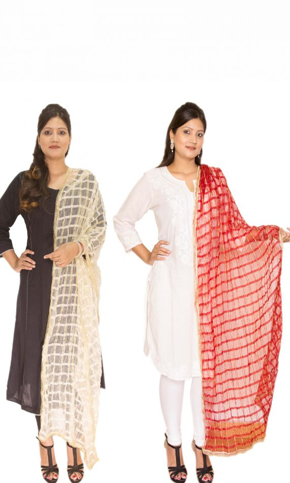 Red and Off-white Dupatta Combo