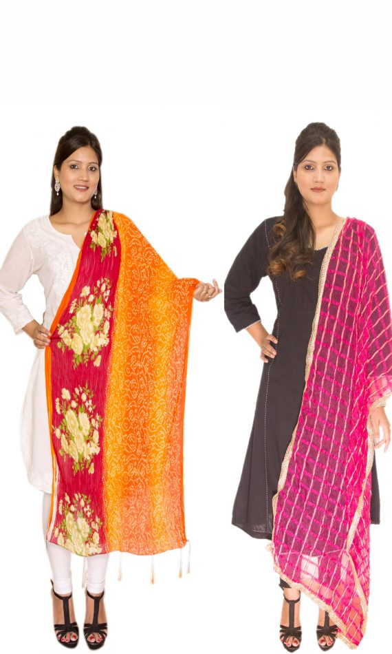 Red-Orange Floral and Mauve Dupatta
