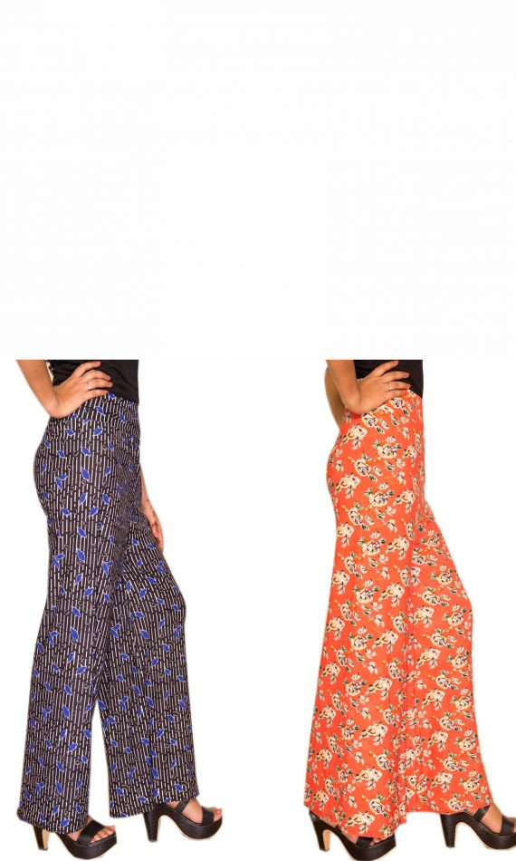 Combo 7 – Black -Blue Petal & Orange Roses Palazzo Set