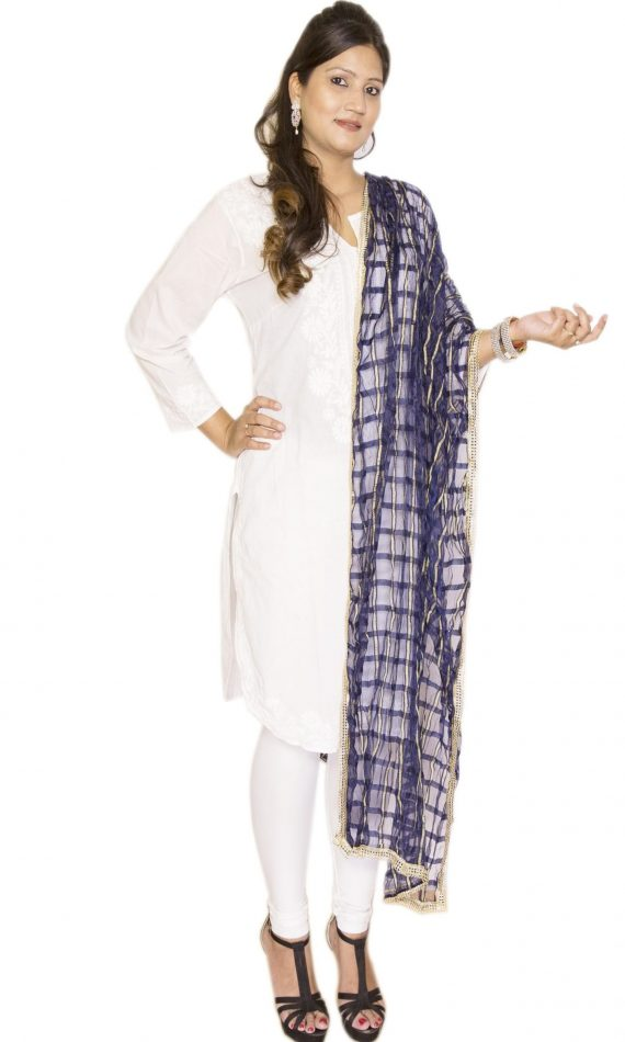 Mirabella Navy Blue Check Dupatta