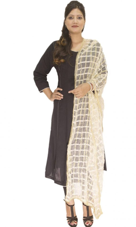 Mirabella Off- White Check Dupatta