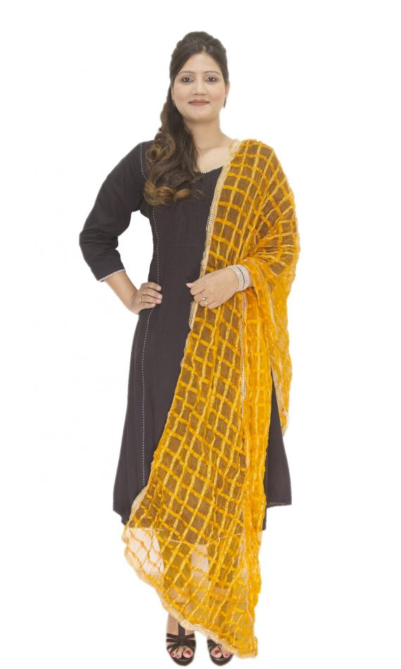 Mirabella Yellow Check Dupatta