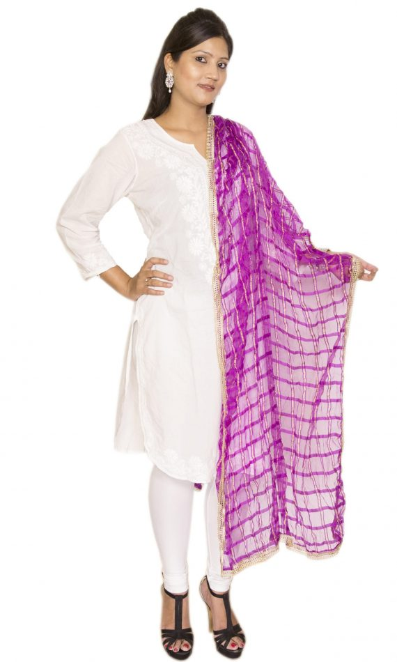 Mirabella Purple Check Dupatta