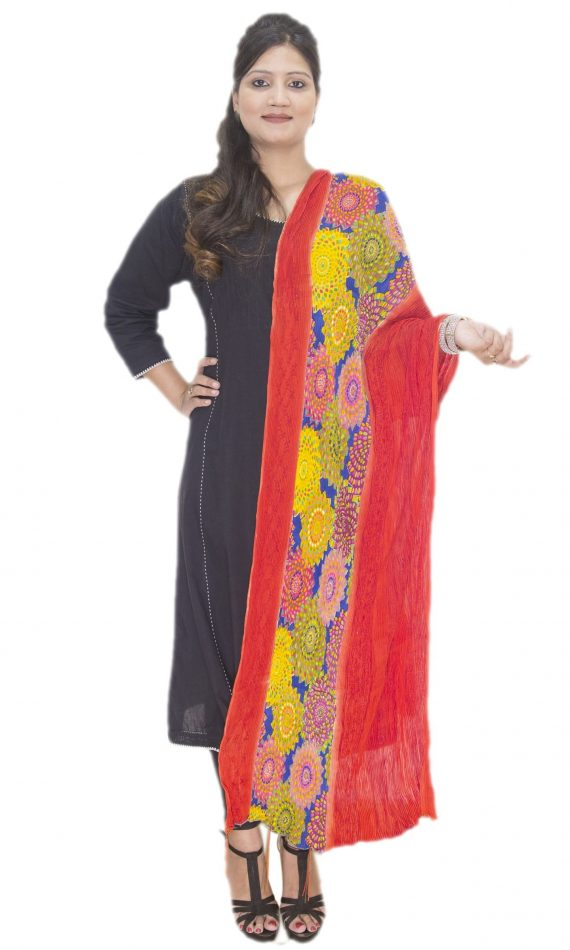 Mirabella Red-Floral Multi-Colored Dupatta