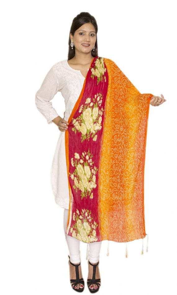 Mirabella Red-Orange Multi-Colored Dupatta