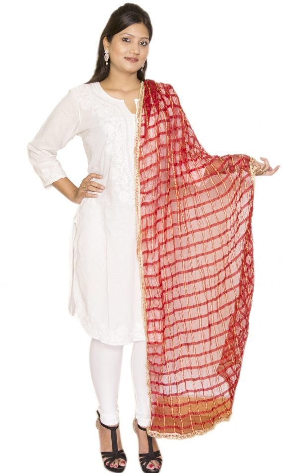 Mirabella Red Check Dupatta